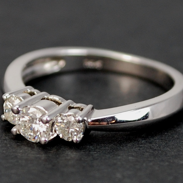 14ct White Gold Brilliant Cut 3 Stone 0.50 Carat Diamond Ring in Modern Jewellery from Coopers Jewellery, North Devon
