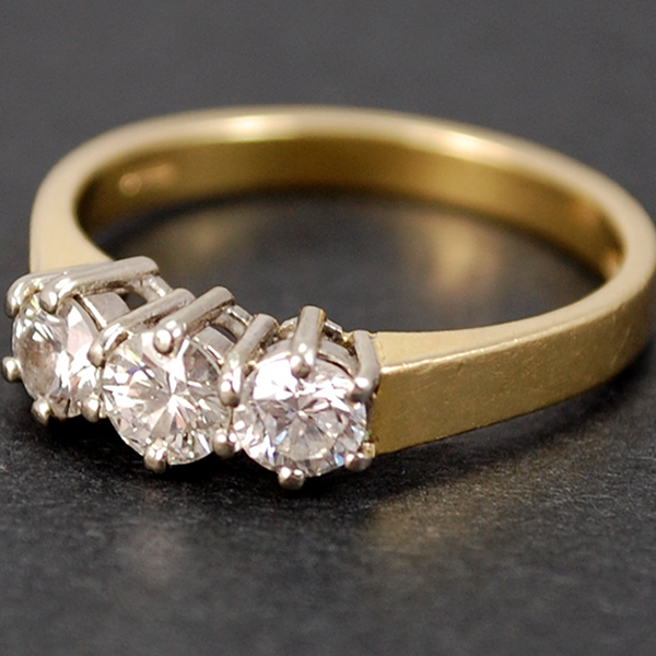 18ct Yellow Gold Brilliant Cut 3 Stone 0.80 Carat Diamond Ring in Modern Jewellery from Coopers Jewellery, North Devon
