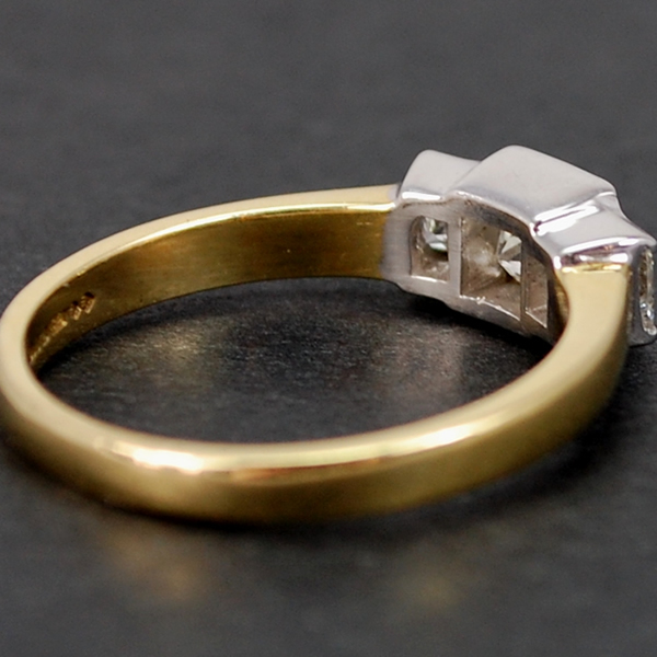 18ct Yellow Gold Princess Cut 3 Stone Diamond Ring in Modern Jewellery from Coopers Jewellery, North Devon