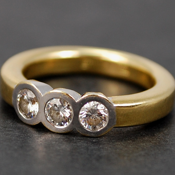 18ct Yellow Gold 3 Stone 0.60 Carat Diamond Ring in Modern Jewellery from Coopers Jewellery, North Devon