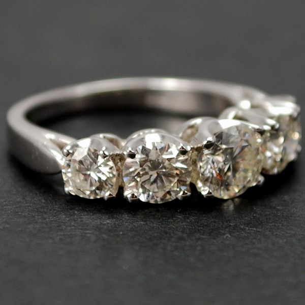 18ct White Gold 5 Stone Brilliant Cut Diamond Ring in Modern Jewellery from Coopers Jewellery, North Devon