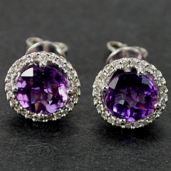 18ct White Gold Amethyst and Diamond Cluster Stud Earrings in Modern Jewellery from Coopers Jewellery, North Devon