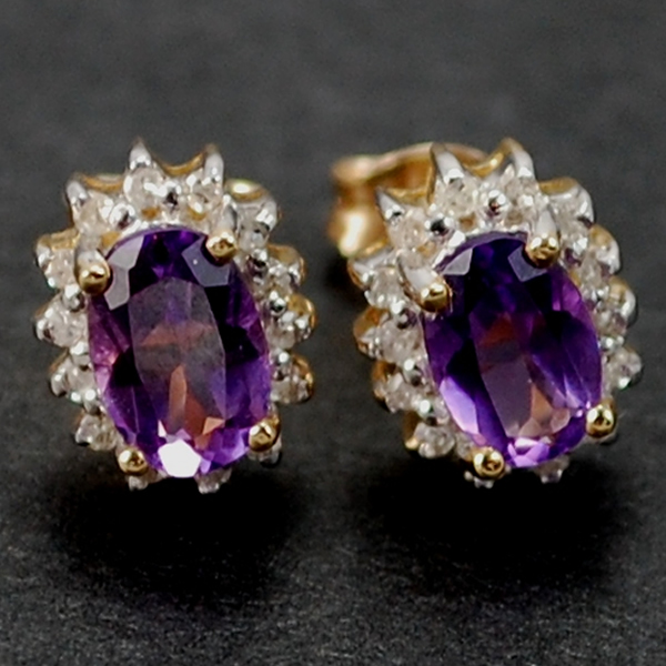 9ct Yellow Gold Amethyst and Diamond Stud Earrings in Modern Jewellery from Coopers Jewellery, North Devon