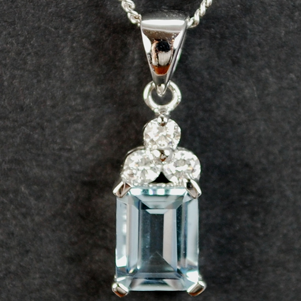 18ct White Gold Aquamarine and Diamond Drop Pendant in Modern Jewellery from Coopers Jewellery, North Devon