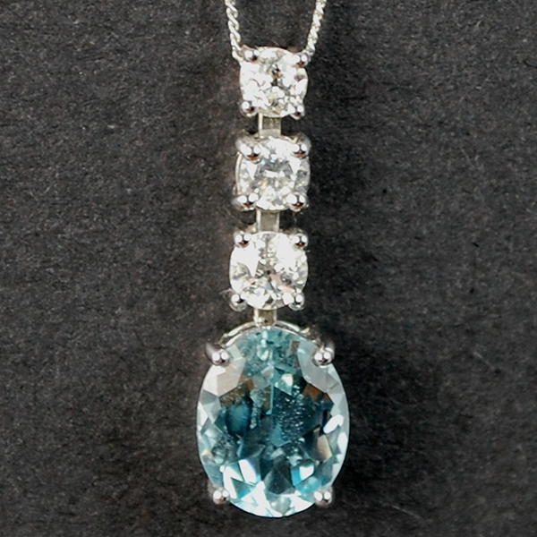 18ct White Gold Aquamarine and Diamond Pendant  in Modern Jewellery from Coopers Jewellery, North Devon