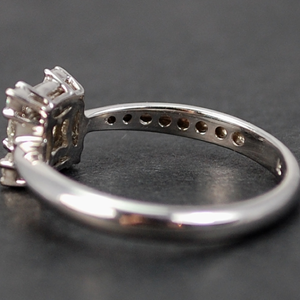 18ct White Gold Brilliant and Baguette Cut Square Diamond Cluster Ring in Modern Jewellery from Coopers Jewellery, North Devon