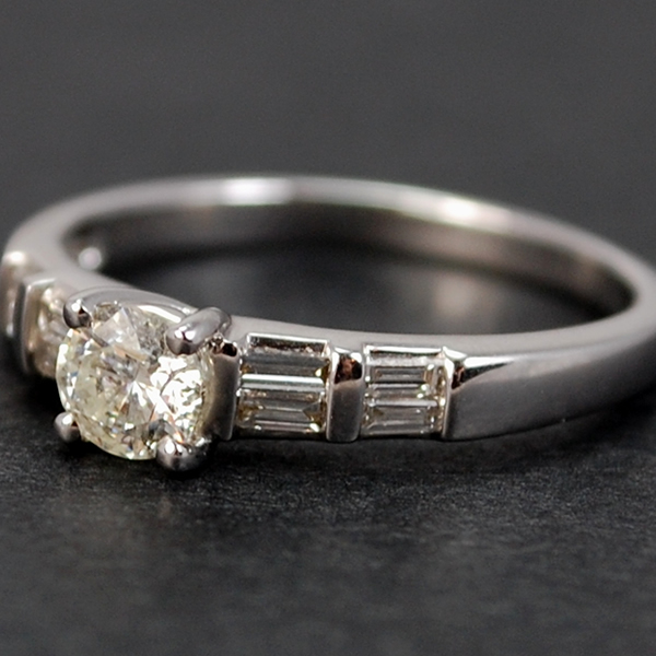 18ct White Gold Brilliant and Baguette Cut Diamond Ring in Modern Jewellery from Coopers Jewellery, North Devon