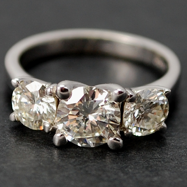 18ct White Gold 3 Stone Brilliant Cut 2.10 Carat Diamond Ring in Modern Jewellery from Coopers Jewellery, North Devon