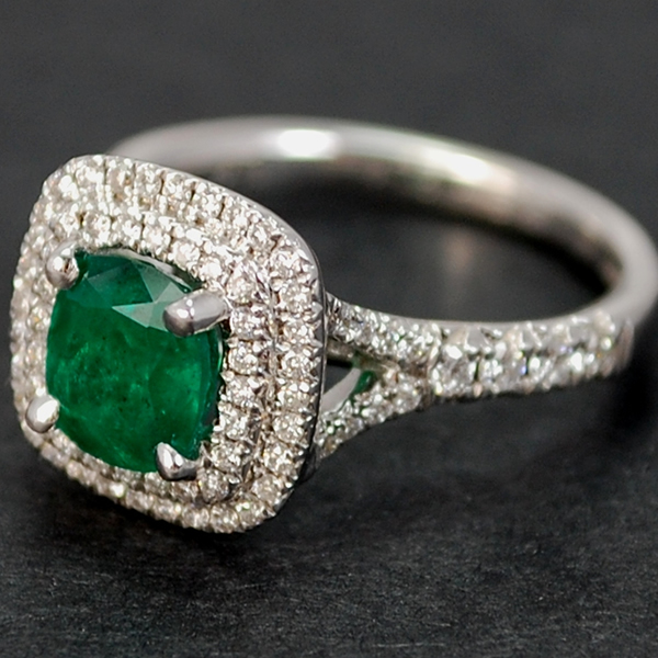 18ct White Gold Emerald and Diamond Cushion Shape Cluster Ring in Modern Jewellery from Coopers Jewellery, North Devon