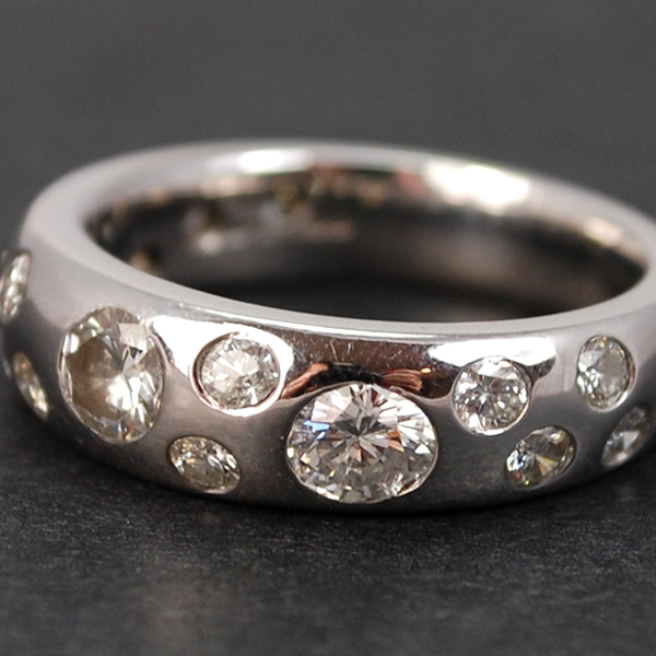 18ct White Gold Diamond Band Ring in Modern Jewellery from Coopers Jewellery, North Devon