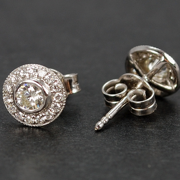 18ct White Gold Diamond Halo Cluster Stud Earrings in Modern Jewellery from Coopers Jewellery, North Devon