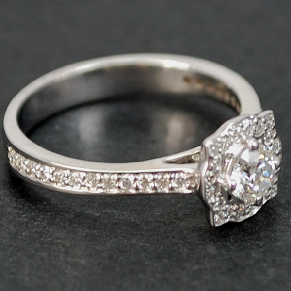 18ct White Gold Halo Diamond Cluster Ring in Modern Jewellery from Coopers Jewellery, North Devon