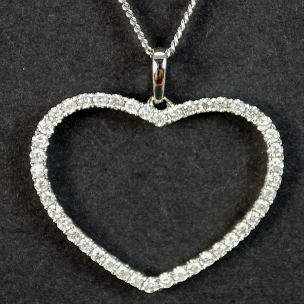 18ct White Gold Heart Diamond Pendant in Modern Jewellery from Coopers Jewellery, North Devon