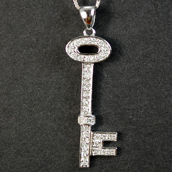 18ct White Gold Diamond Key Pendant in Modern Jewellery from Coopers Jewellery, North Devon