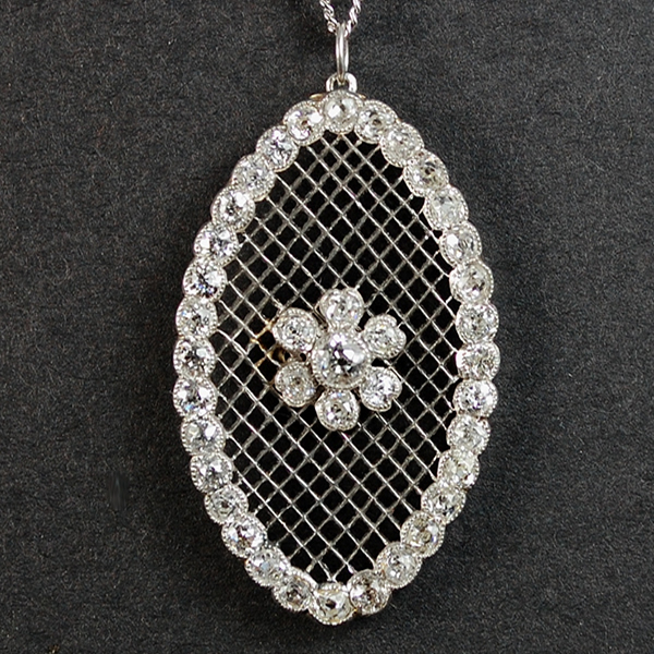 Edwardian Platinum 2 Carat Diamond Oval Pendant  in Antique Jewellery from Coopers Jewellery, North Devon