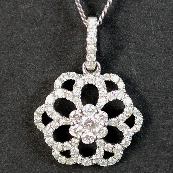 18ct White Gold Flower Cluster Diamond Pendant in Modern Jewellery from Coopers Jewellery, North Devon