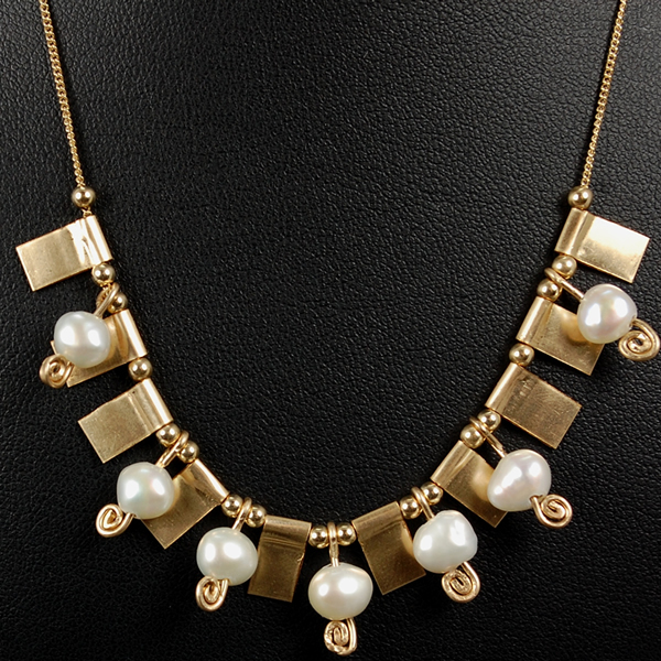 Aviv Gold Plated Pearl and Bead Necklace  in Silver Jewellery from Coopers Jewellery, North Devon