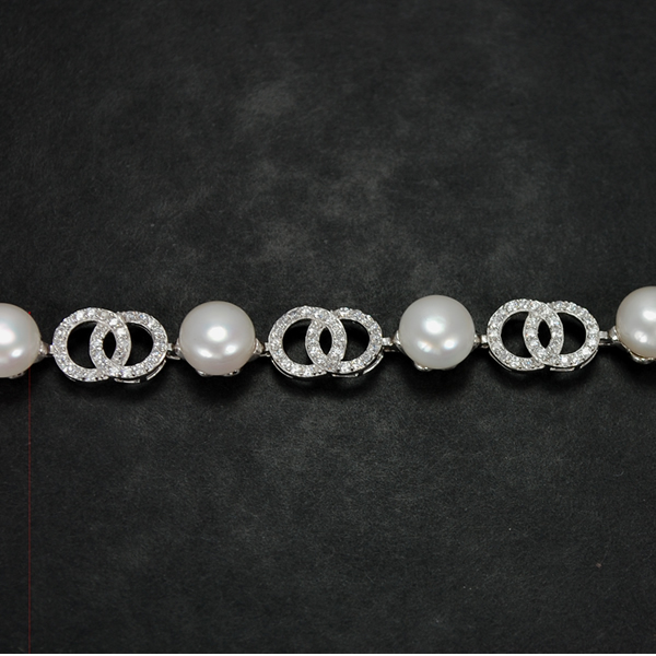 Silver Cubic Zirconia and Pearl Bracelet  in Silver Jewellery from Coopers Jewellery, North Devon