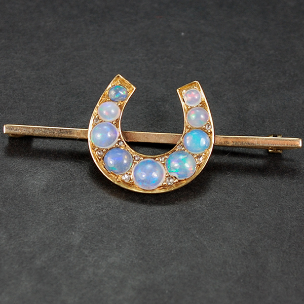 1920's Jelly Opal Horseshoe 9ct Gold Brooch in Antique Jewellery from Coopers Jewellery, North Devon
