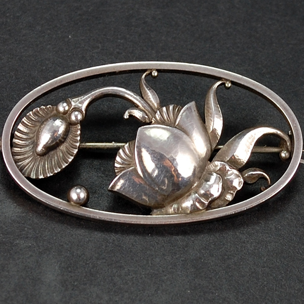 Vintage Georg Jensen Abstract Oval Cactus Flower 274 Brooch in Vintage Jewellery from Coopers Jewellery, North Devon