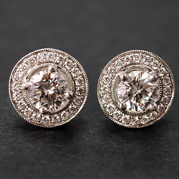 18ct White Gold Halo Diamond Stud Earrings in Modern Jewellery from Coopers Jewellery, North Devon