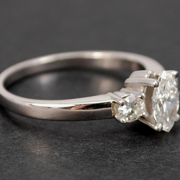 18ct White Gold Marquise and Brilliant Cut 3 Stone Diamond Ring in Modern Jewellery from Coopers Jewellery, North Devon