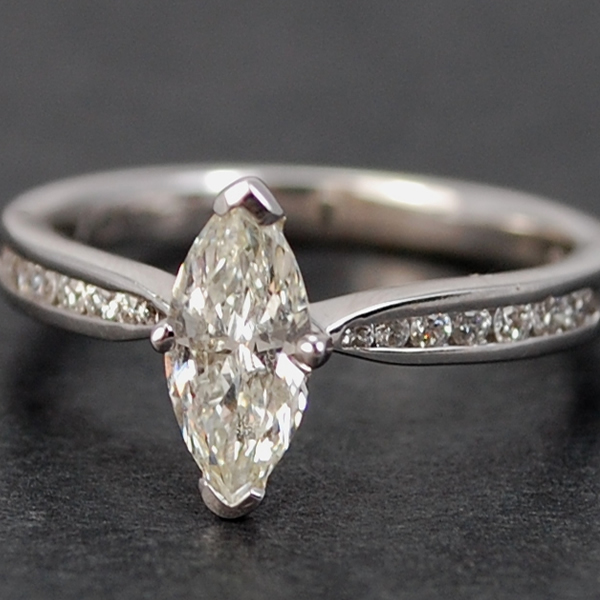 18ct White Gold Marquise Cut Diamond Ring  in Modern Jewellery from Coopers Jewellery, North Devon