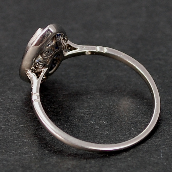 French Platinum Sapphire and Diamond Marquise Ring in Antique Jewellery from Coopers Jewellery, North Devon