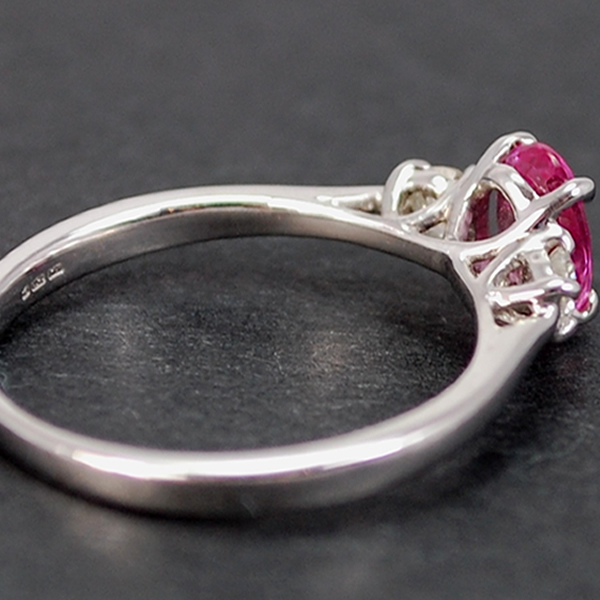 18ct White Gold Pink Sapphire and Diamond 3 Stone Ring in Modern Jewellery from Coopers Jewellery, North Devon