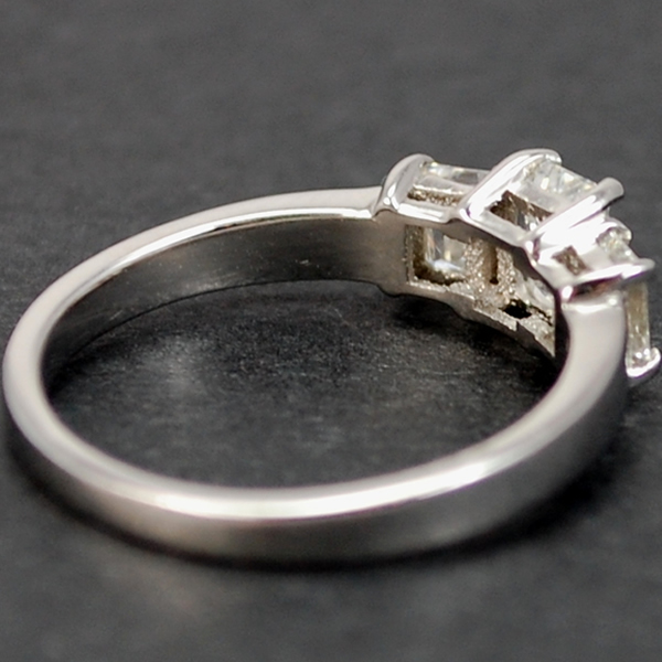 Platinum 3 Stone Emerald Cut 0.90 Carat Diamond Ring in Modern Jewellery from Coopers Jewellery, North Devon