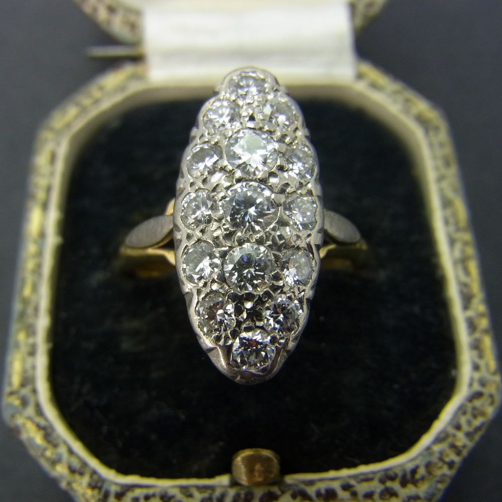 Diamond Marquise Ring set in 18ct Gold in Vintage Jewellery from Coopers Jewellery, North Devon
