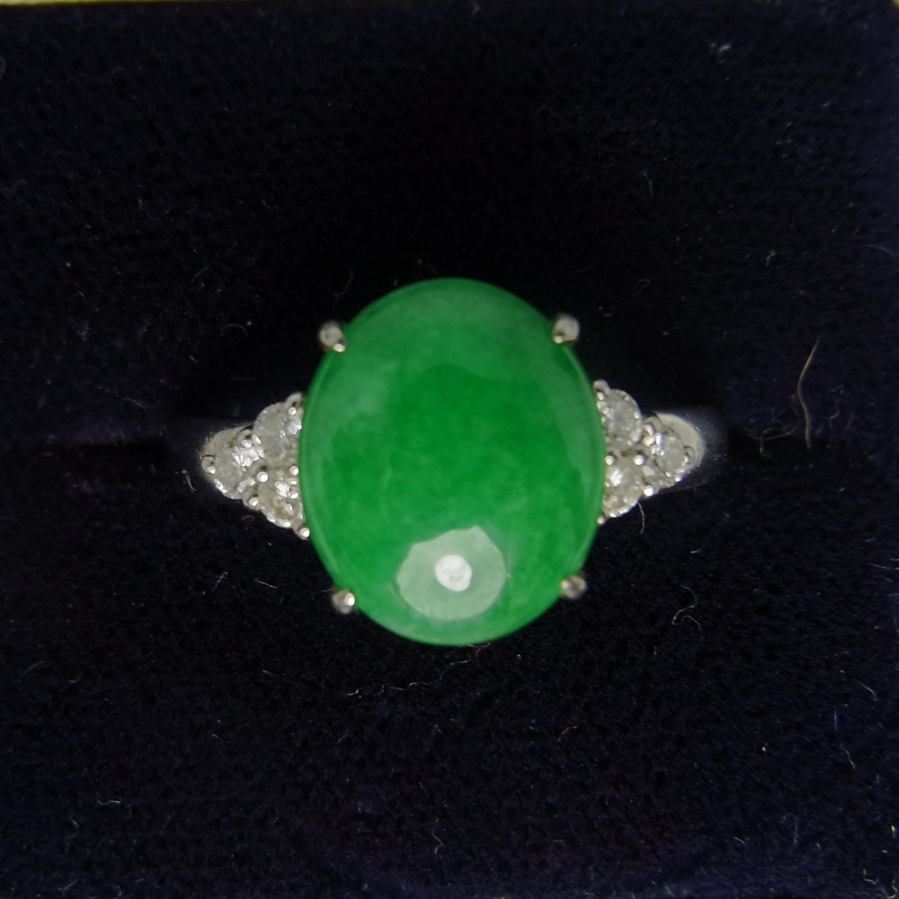 Vintage Fine Green Jade and Diamond 18ct White Gold Ring in Vintage Jewellery from Coopers Jewellery, North Devon