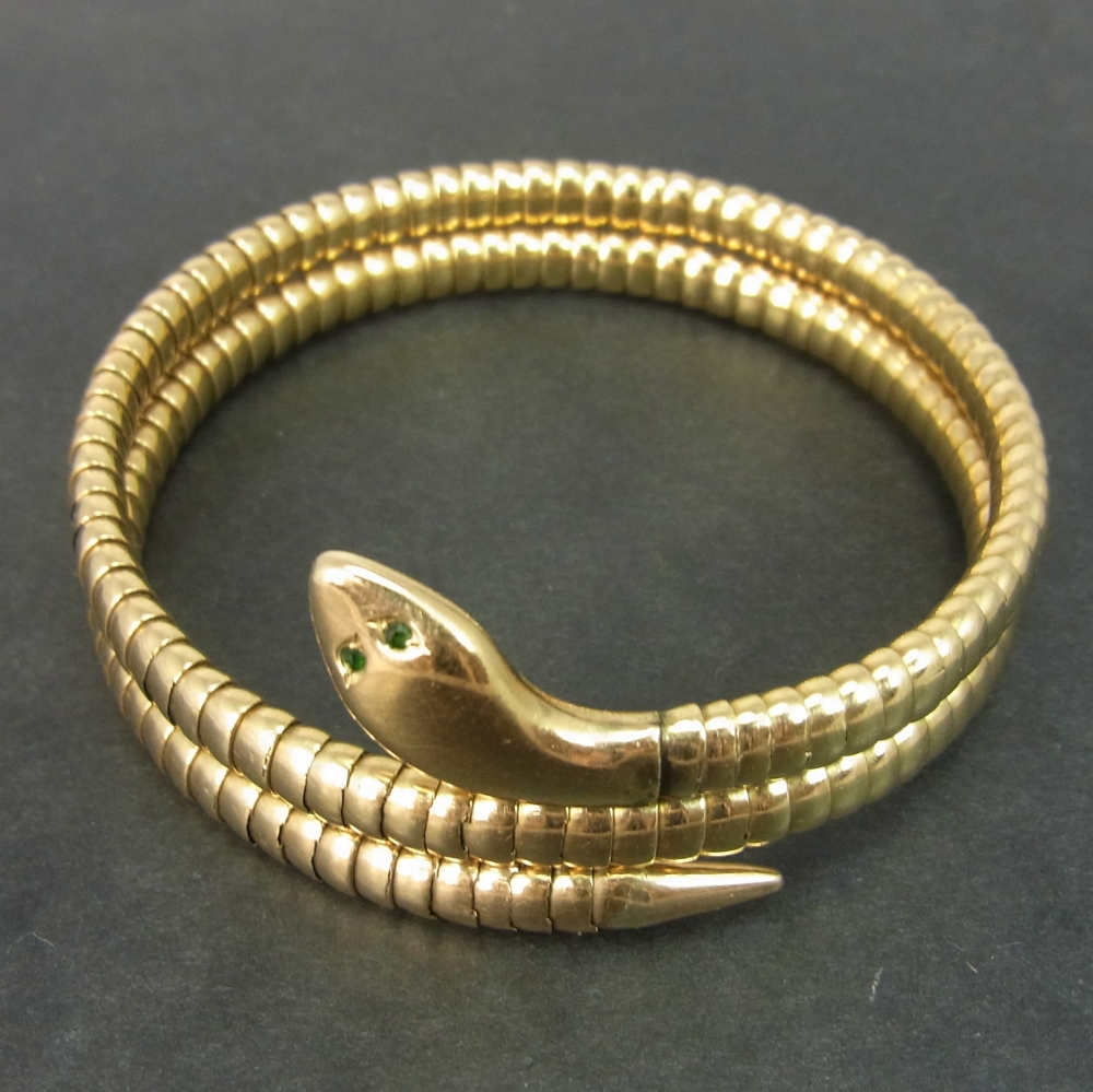 Vintage 9ct Gold Double Snake Bangle in Vintage Jewellery from Coopers Jewellery, North Devon