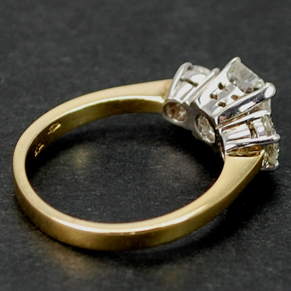 18ct Yellow Gold Radiant Cut 3 Stone Ring  in Modern Jewellery from Coopers Jewellery, North Devon