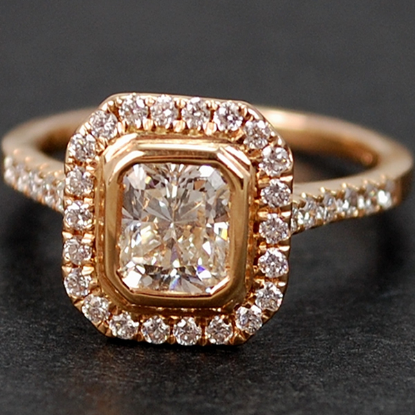 18ct Rose Gold Radiant Cut Cluster in Modern Jewellery from Coopers Jewellery, North Devon