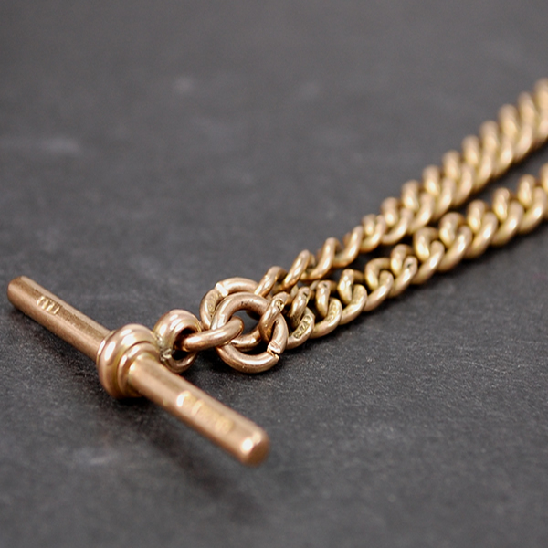 Victorian 9ct Rose Gold Graduated Albert Chain  in Antique Jewellery from Coopers Jewellery, North Devon