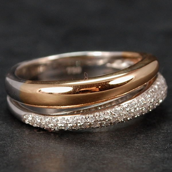 18ct Rose Gold and White Gold Diamond Twist Ring in Modern Jewellery from Coopers Jewellery, North Devon