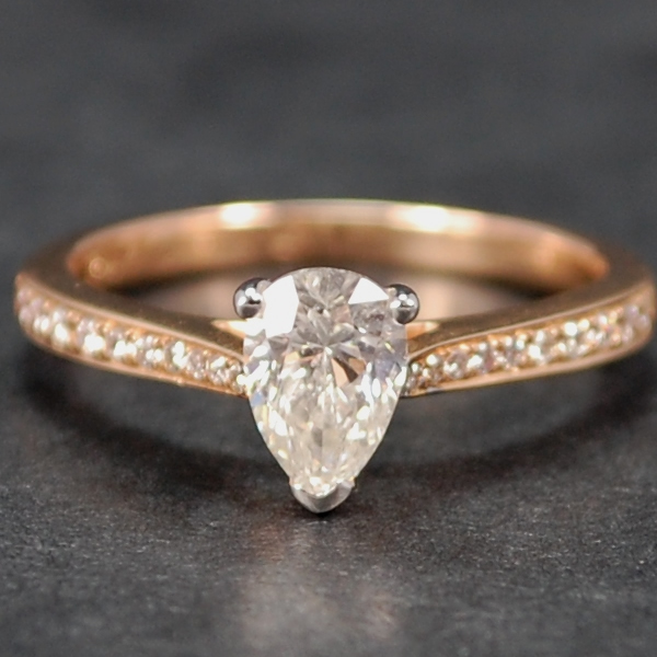 18ct Rose Gold Pear Shape Diamond Ring in Modern Jewellery from Coopers Jewellery, North Devon