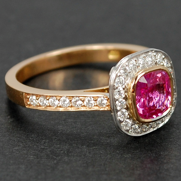 18ct Rose Gold Pink Sapphire and Diamond Halo Cluster Ring in Modern Jewellery from Coopers Jewellery, North Devon