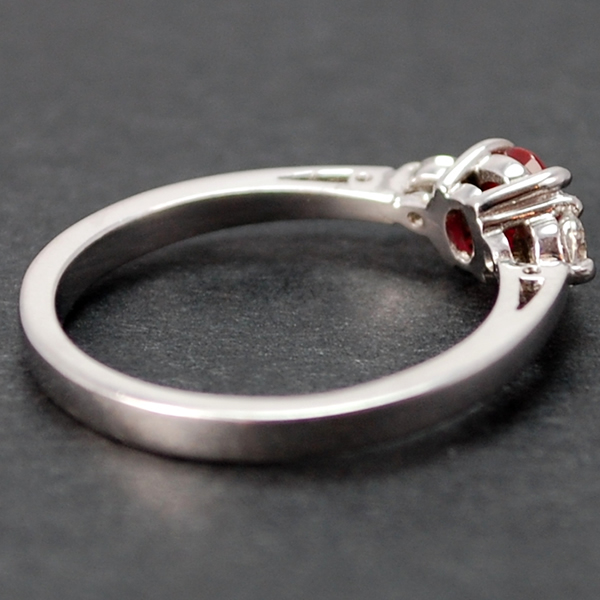 18ct White Gold 3 Stone Ruby and Diamond Ring in Modern Jewellery from Coopers Jewellery, North Devon