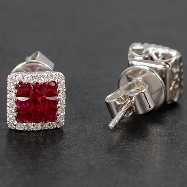 18ct White Gold Ruby and Diamond Stud Earrings in Modern Jewellery from Coopers Jewellery, North Devon