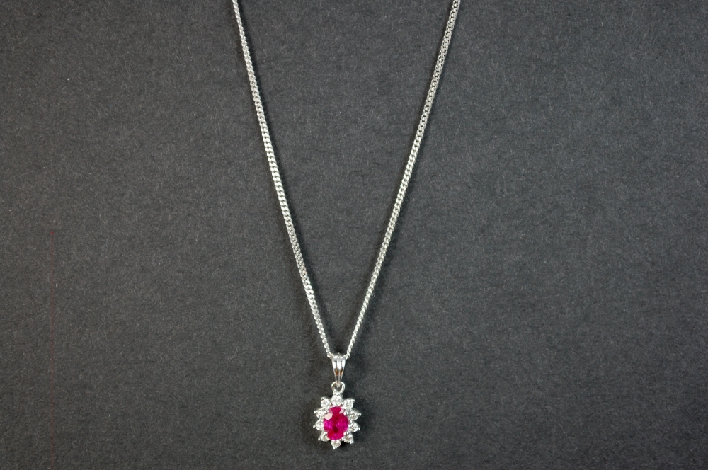 18ct White Gold Ruby and Diamond Flower Pendant in Modern Jewellery from Coopers Jewellery, North Devon