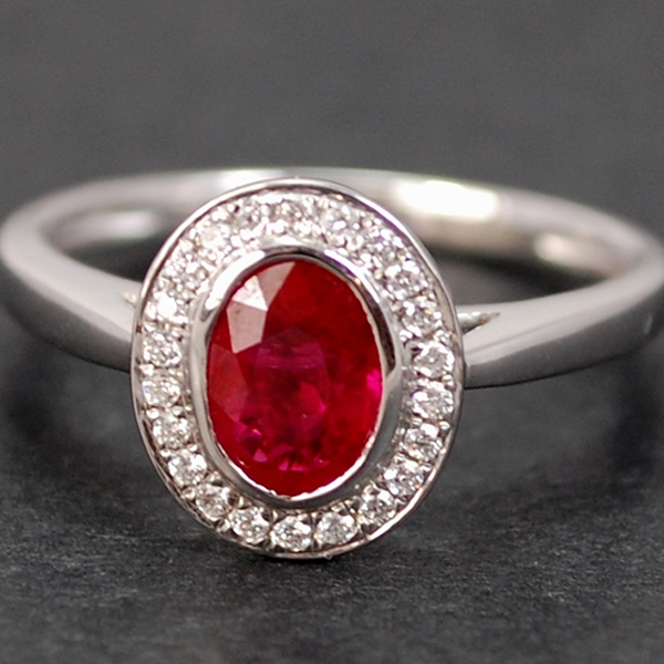 18ct White Gold Ruby and Diamond Halo Cluster Ring in Modern Jewellery from Coopers Jewellery, North Devon
