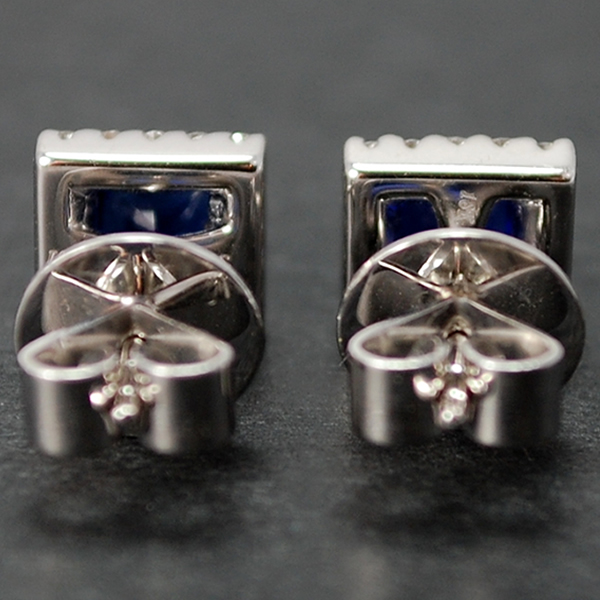 18ct White Gold Sapphire and Diamond Square Stud Earrings in Modern Jewellery from Coopers Jewellery, North Devon