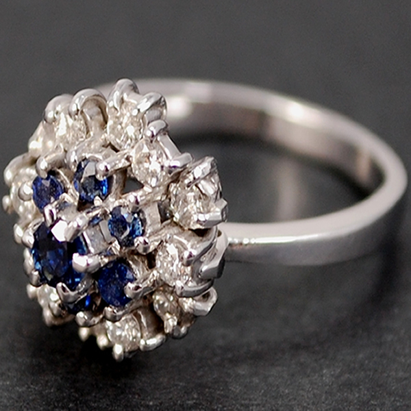18ct Sapphire and Diamond Cluster Ring in Modern Jewellery from Coopers Jewellery, North Devon