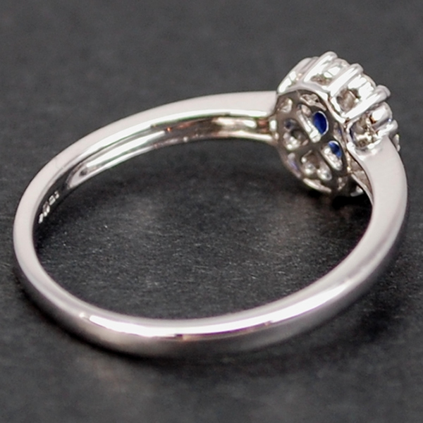 18ct White Gold Sapphire and Diamond Oval Cluster  in Modern Jewellery from Coopers Jewellery, North Devon
