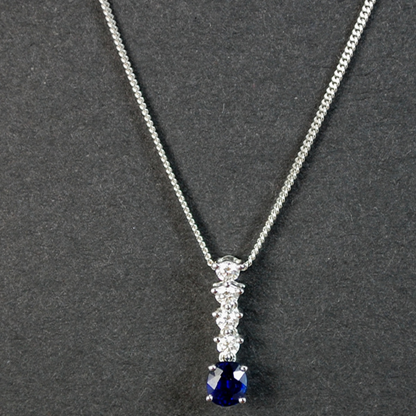 18ct White Gold Sapphire and Diamond Pendant in Modern Jewellery from Coopers Jewellery, North Devon