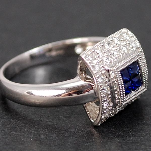 18ct White Gold Square Sapphire and Diamond Cluster Ring in Modern Jewellery from Coopers Jewellery, North Devon