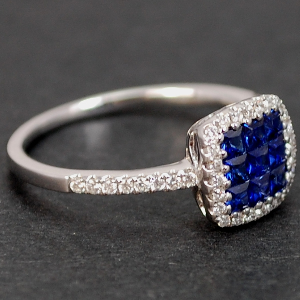 18ct White Gold Sapphire and Diamond Square Cluster Ring in Modern Jewellery from Coopers Jewellery, North Devon
