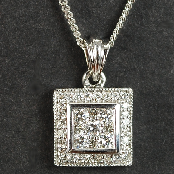 18ct White Gold Square Diamond Pendant  in Modern Jewellery from Coopers Jewellery, North Devon